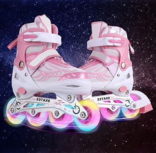 Hesyovy Leucht PU Räder Inline-Skates für Kinder, größenverstellbar von 31 bis 42, ideal für Anfänger, komfortable Rollschuhe, Inliner für Mädchen und Jungen (Rosa, EU 35-38)