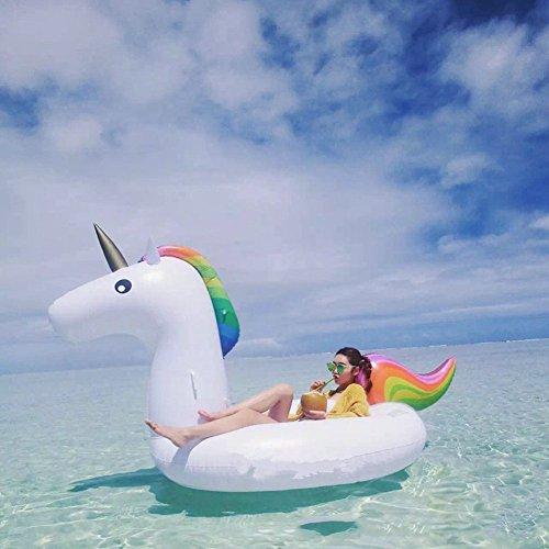 Einhorn luftmatratze Aufblasbares Einhorn XingYu-XY Pool Einhorn Luftmatratze, Aufblasbar Schwimmen Floß PVC Aufblasbarer Schwebebett für 2-3 Personen(Maximalbelastung 150KG)(275 x 120 x 140cm, Weiß)