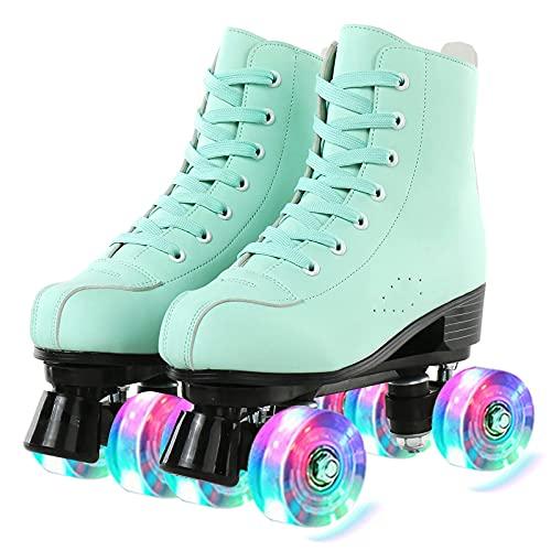 XJBHD Damen Klassische Retro Rollschuhe | Rollschuhe PU Leder High-top | Mint Türkis Mädchen Classic Roller Skates Inliner Inlineskates | Halloween, Christmas Gr. 35, 36, 37, 38, 39, 40, 41,42,43,44