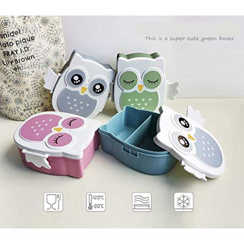 Brotdose Mit trennwand 2 Fächer Brotbox Ausflug Lunchbox Apfel Dose Cartoon Eule Bento Box leicht tragbar Frühstücksbox für Picknick (1*Stück in Zufällig Farbe)