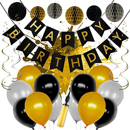 LEVANDI® Premium Geburtstagsdeko Set in Gold - Schwarz [24 Teile] I Wiederverwendbar mit Luftpumpe & Zubehör I Wunderschöne Party Deko mit Luftballons, Happy Birthday Girlande & Wabenbällen