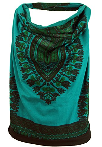 GURU SHOP Goa Top, Dashiki Psytrance Neckholder Top, Petrol, Baumwolle, Size:M/L (38/40), Tops & T-Shirts Alternative Bekleidung