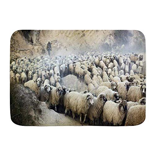 Fußmatten, Umzug ländlich Zahlreiche Vintage Schöne Hirten Hüte Schaf Herde Gruppe, Küche Boden Bad Teppich Matte Saugfähig Innen Bad Dekor Fußmatte Rutschfest