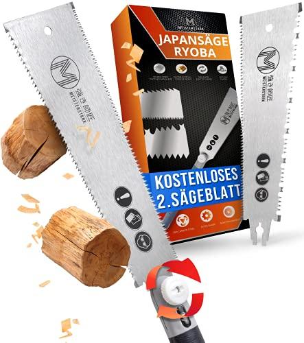 MEISTERSTARK® Japansäge Ryoba Set [2. SÄGEBLATT GRATIS] - Japanische Säge für Heimwerker - Profi Ryoba Säge 250 mm aus SK4 Karbonstahl - Zugsäge Astsäge Fein-Säge Holz Handsäge Holz-Säge mit 2K-Griff