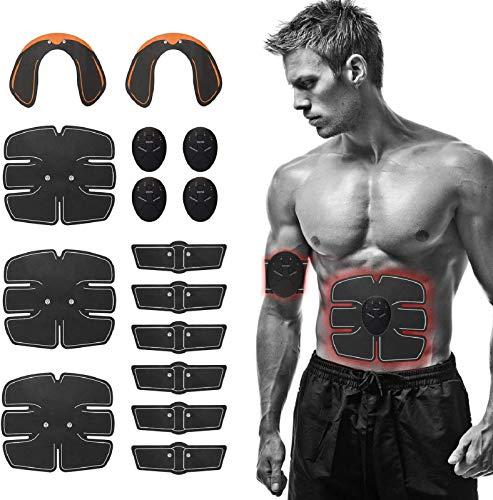 Festnight EMS Trainingsgerät Elektrisch Bauchtrainer,EMS Muskelstimulator 15 Stück für Bauchmuskeln/Taillenmuskeln/Beinmuskeln/Hüften für Ganzkörper Trainieren für Damen und Männlich