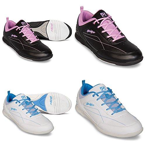 KR Bowling-Schuhe, Strikeforce Capri, für Damen und Kinder, für Rechts- und Linkshänder in 2 Farben Schuhgröße 36-41 (Weiß/Blau, US 9,5 (EU 39,5))