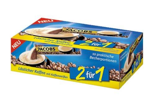 Jacobs 2 für 1 Löslicher Kaffee mit KaffeeweißYer 10 praktische Becher-Portionen, (10 x 14g) 140 g