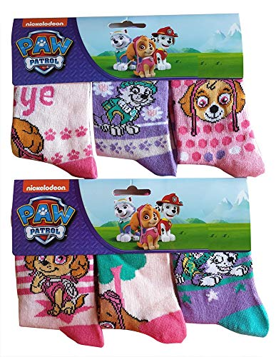 PAW PATROL Mädchen Socken im 6er Pack mit den Hunden Skye & Everest, Kindersocken in den Farben Rosa/Lila (31/34)