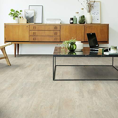 PVC Bodenbelag Fliese Melbourne Grau mit Textilrücken (Musterstück in DIN A4)
