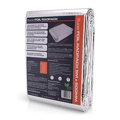 SuperFOIL RadPack - Hochleistungs-Heizkörper-Isolierfolie (5m x 60cm) - 3mm wärmereflektierende Reflektor-Luftpolsterfolie   Wärme speichern, Energie sparen, Geld sparen – isoliert mehr als 3 Heizkörp