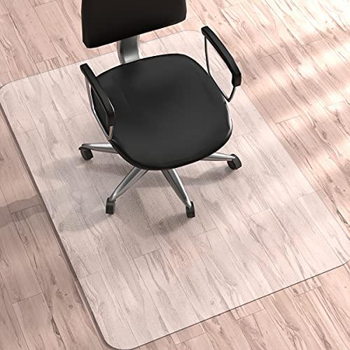 Stuhlmatte für Hartböden, WASJOYE Bodenschutzmatte, Bürostuhlmatte, groß, 91 x 122 cm, transparenter PVC-Bodenschutz