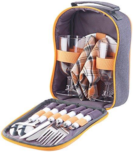 PEARL Picknick Geschirr: Picknick-Set für 2 Personen: Gläser, Servietten, Teller, Besteck (Plastikgeschirr)