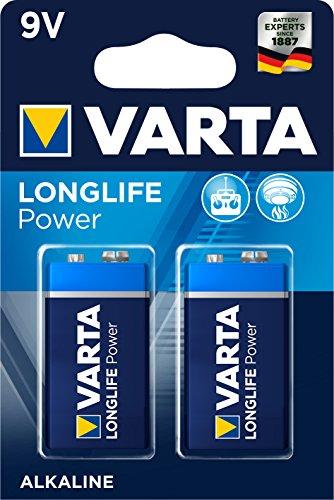 VARTA Longlife Power 9V Block 6LR61 Batterie (2er Pack) Alkaline E-Block Batterien -ideal für Feuermelder Rauchmelder Stimmgerät