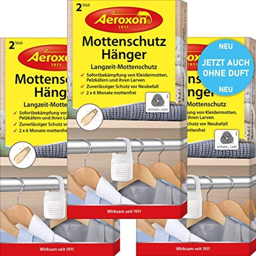 Aeroxon Mottenschutz-Hänger - 3x2 Stück - NEU vollkommen geruchlos - Verlässliche, starke und schnelle Bekämpfung von Kleidermotten - Mottenschutz für Kleiderschrank