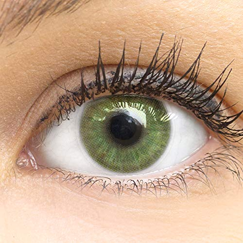 GLAMLENS Neapel Green Grün + Behälter   Sehr stark deckende natürliche grüne Kontaktlinsen farbig   farbige Monatslinsen aus Silikon Hydrogel   1 Paar (2 Stück)   DIA 14.20   ohne Stärke