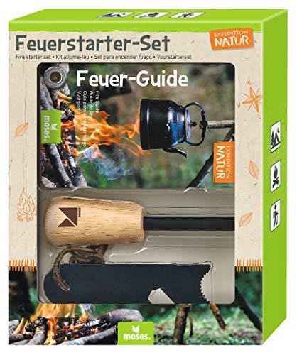Expedition Natur Feuerstarter-Set   Feuerstahl für Outdoor & Survival   Magnesium Feuerstarter mit Flaschenöffner Sechskantschlüssel & Feuer-Guide   Firestarter für Kinder
