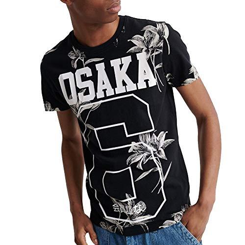 Superdry Herren Super 5's T-Shirt Venedig Blume Schwarz XL