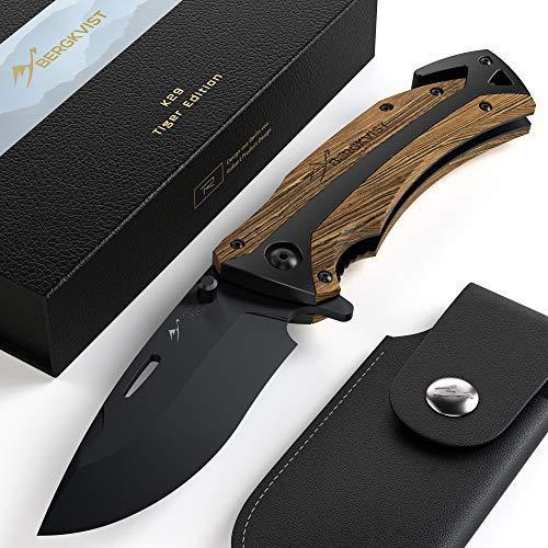 BERGKVIST® Klappmesser 3-in-1 K29 Tiger Messer I Scharfes Outdoor-Messer & Taschenmesser mit Holzgriff I Einhandmesser Schnitzmesser mit Schleifstein, Gürteltasche & eBook (K29 Tiger)