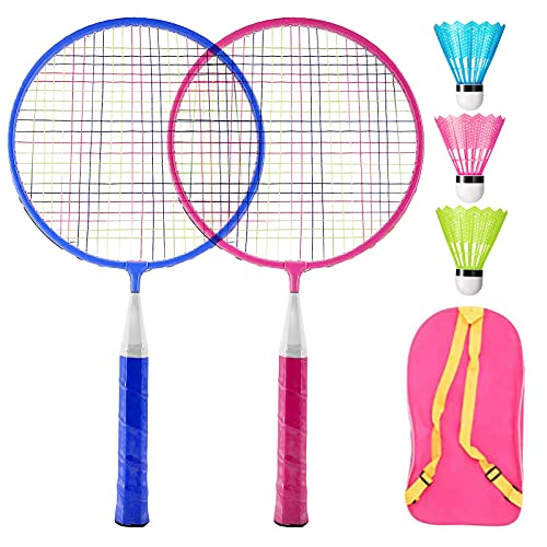 Xionghonglong Kinder Schläger Set mit Federball,Badminton Racket Set,Mini Badminton Set,Tragbar Badminton Racket,für Kinder Badminton Spielzeug mit 2 badmintonschläger und 3 Badminton