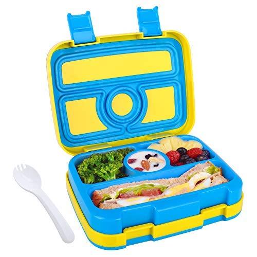 Abree Lunchbox für Kinder Bento-Box Brotdose mit 4 Fächern BPA-freier Essen Container mit Löffel Ideal für Schule Picknicks Reisen