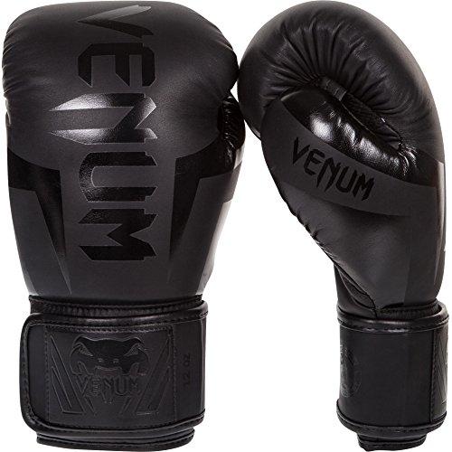 Venum Erwachsene Boxhandschuhe Elite, Schwarz Matt/Schwarz, 16 oz