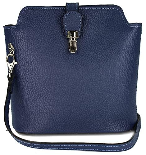 Belli kleine edle italienische Leder Handtasche Umhängetasche in blau - 18x20x8 cm (B x H x T)