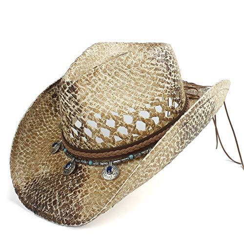 U/D HOUJHUS Männer natürliche Stroh Cowboy Hut handgemachte Webart Cowgirl Hüte for Lady Gentleman Sommer westlichen Rettungsschwimmer Hüte (Color : Natural, Size : 56-58)