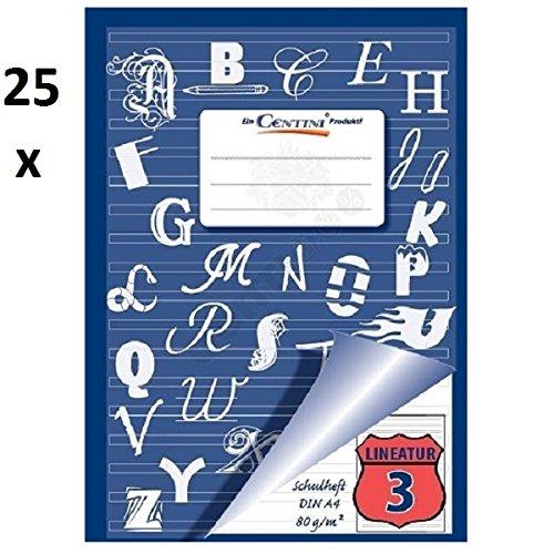 25 Stück Heft, Schulheft, A4 Liniert 3.Schuljahr, 16 Blatt