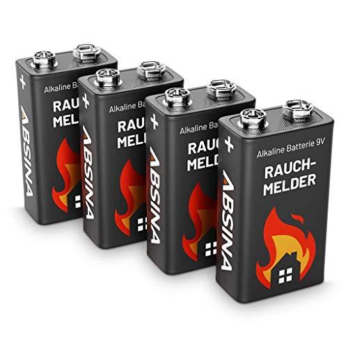 ABSINA Rauchmelder Batterie 9V Block - 4er Pack Alkaline 9V Block Batterien langlebig & auslaufsicher - Blockbatterien für Feuermelder, Bewegungsmelder, Kohlenmonoxid, Warnmelder & Rauchwarnmelder