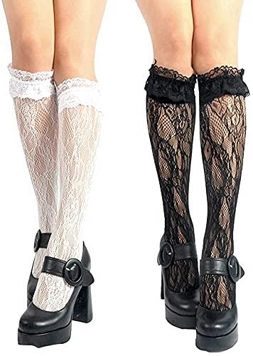 EPRHAN 4 Paar Damen Kniestrümpfe Mädchen Spitze Netzstrümpfe Lolita Lose Socken