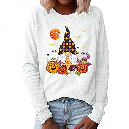 Zilosconcy Halloween Sweatshirt Damen ohne Kapuze: Zwerg Muster Festlich Pullover Sommer Oversize Pulli Teenager mädchen Vintage Weiss schwarz grau Pullover