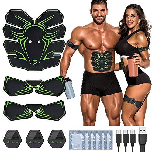 RIRGI EMS Muskelstimulator Set USB Wiederaufladbar EMS Trainingsgerät Bauchmuskeltrainer mit 10 Modi 20 Intensität Muskeltrainer Elektrisch für Muskelaufbau und Fettverbrennung[Gratis 12 STK.Gelpads]