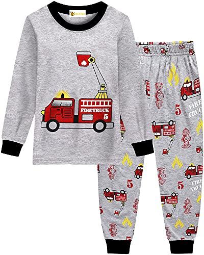 Molyhua Baby Boys Pyjamas Long Sleeve Pyjamas Digger Fire Brigade Pyjamas Children's Sleepwear 92 98 104 110 116 122,03 Feuerwehrauto,98