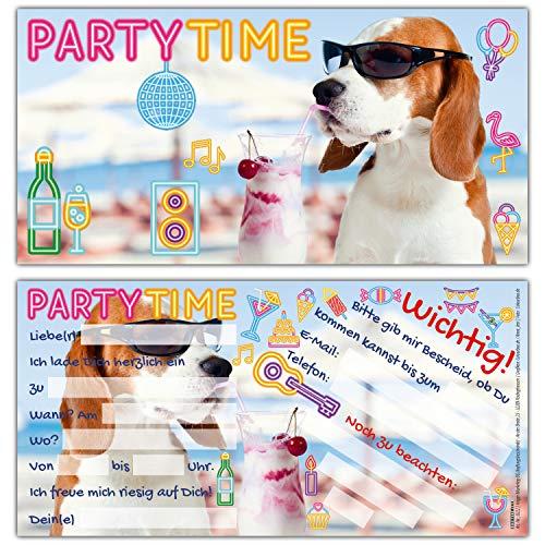 12er Set PARTY-HUND Einladungskarten - lustige Premium Einladung zum Kinder-Geburtstag oder Party für Jungen Mädchen & Erwachsene von BREITENWERK