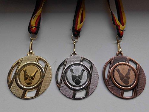 Fanshop Lünen Medaillen Set - mit Metall 50mm - Kegeln - Kegler - Gold Silber Bronze - mit Alu Emblem 25mm - Medaillenset - mit Medaillen-Band - (e257)