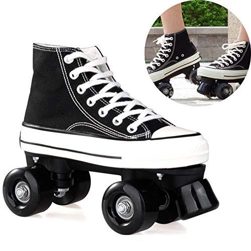Pinkskattings@ Canvas Schlittschuhe Rollschuhe Für Damen Mädchen Roller Quad Skates Komfortables Und Atmungsaktives Mit Zweireihigem Rad Obermaterial Leinwand Rollschuhe,Schwarz,36