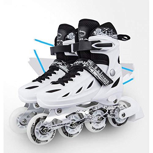 Haojie Verstellbare Inline-Rollenklinge Skate-Schuhe für Mädchen Jungen Sneakers Skates Hockey-Skates Roller für Teenager-Straße Skating,Weiß,L<38~41>