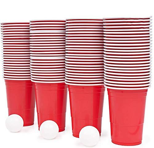 100 Beerpongbecher Set Und 15 Bällen | Bier Pong Set Bier Pong Trinkbecher | Bier Pong Bechern Für Lustige Trinkspiele | Getränke Party Camping Cocktail Bier Jahr Geburtstag Festival Hochzeit