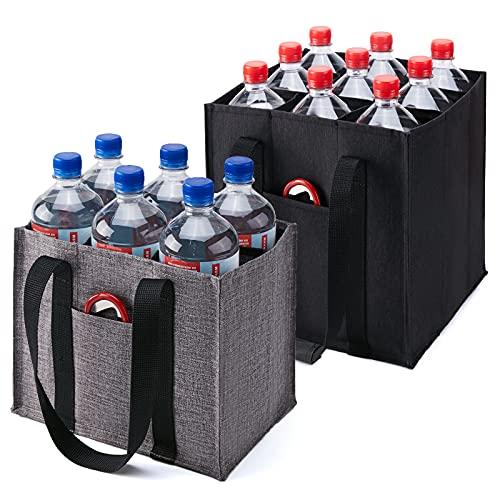 KALIDI 2 Stück 6er bottlebag Flaschentasche 9er Flaschenträger Männerhandtasche für 6 Flaschen Flaschenkorb Flaschenhalter 9 Flaschen Tragetasche mit Trennwände, schwarz