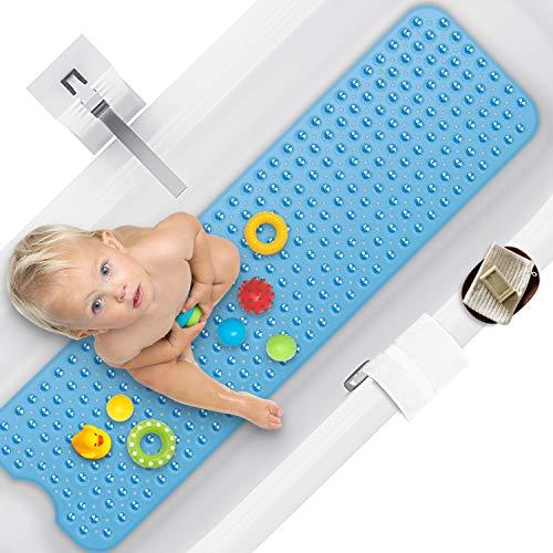 100 x 40 cm Duschmattem, Antirutschmatte Badewanne mit Saugnapf, Kein Chemie-Geruch Oder Sicher PVC Badewannenmatte, Extra lang, Maschinenwaschbar(Blau)