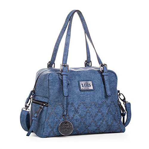 Lois - Henkeltasche für Damen. Bowling Bag. Handtasche. Kunstleder PU und Nieten. Praktisch für jeden Tag oder Einkaufen. Mit Schlüsselbund. 93931, Color Blau