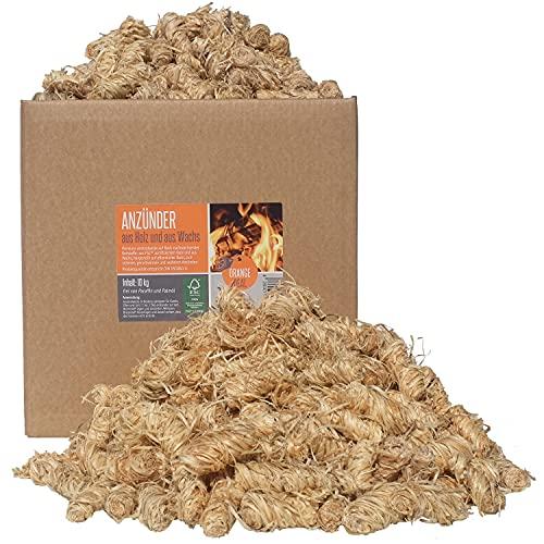 ORANGE DEAL Premium 10kg (ca. 800 Stück) Öko Anzündhilfe Anzünder Grillanzünder Holzwolle Kaminanzünder Ofenanzünder brennen lange und heiß FSC® 100%