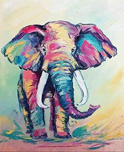 HCDZF Malen nach Zahlen f¨¹r Erwachsene Kinder - Aquarell Elefant Tier - DIY digitale Malerei nach Zahlen Kits auf Leinwand 40x50cm