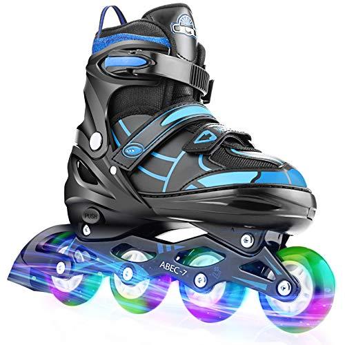 Hikole Inline Skates für Jungen Kinder, verstellbare Rollschuhe mit 8 PU Light Up Rädern Blinkende Inline Skates Klingen für Frauen Mädchen Kinder Männer
