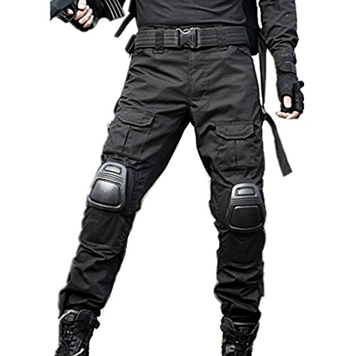 JOYASUS Paintball BDU Taktische Hosen Airsoft Hosen Multi-Tasche Diensthosen mit Knieschützer