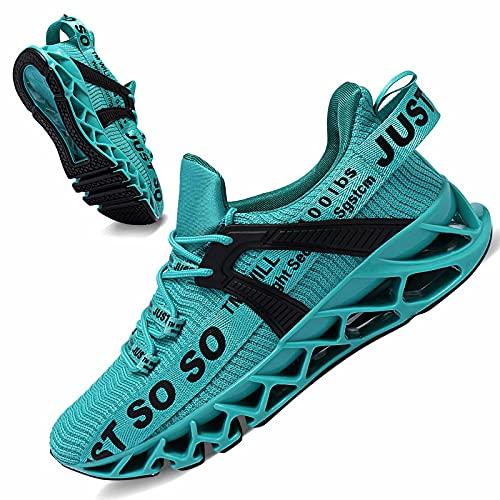JSLEAP Schuhe Herren Laufschuhe Herre Damen Sportschuhe Straßenlaufschuhe Sneaker Joggingschuhe Turnschuhe Walkingschuhe Traillauf Fitness Schuhe 2 Blauer See,Größe 39 EU/245 CN