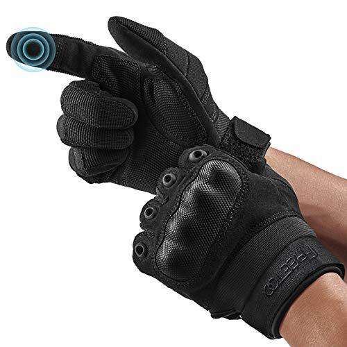 FREETOO Motorradhandschuhe Herren Sport Handschuhe Vollfinger Taktische Handschuhe mit gepolstertem Rückenseite geeignet für Motorrad Fahrrad