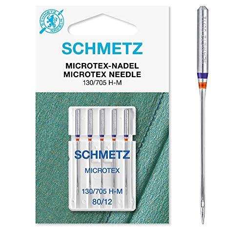 SCHMETZ Nähmaschinennadeln | 5 Microtex-Nadeln | 130/705 H-M | Nadeldicke 80/12 | auf Allen gängigen Haushaltsnähmaschinen einsetzbar | geeignet für besonders dichtes oder feines Gewebe