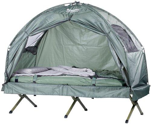 Semptec Urban Survival Technology Zeltbett: 4in1-Zelt mit Feldbett, Sommer-Schlafsack und Matratze (Campingliege)