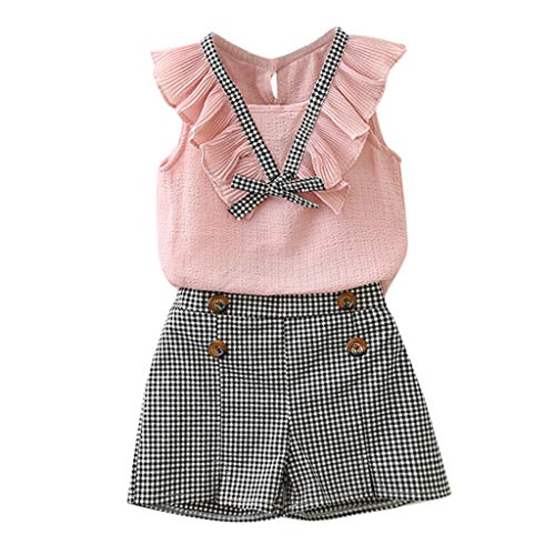 MRULIC Baby Mädchen Outfits Kleidung Bowknot Weste Tops + Plaid Shorts Hosen Sets Anzug 1-6 Jahre(Rosa,110)